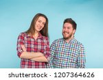 funny young couple laughing and ... | Shutterstock . vector #1207364626
