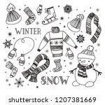 hand drawn winter doodle set.... | Shutterstock .eps vector #1207381669