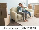 new home  moving and real... | Shutterstock . vector #1207391260