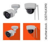 isolated object of cctv and... | Shutterstock .eps vector #1207414390