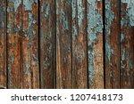 vintage painted wooden... | Shutterstock . vector #1207418173