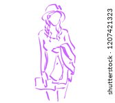 vector sketch of fashionable... | Shutterstock .eps vector #1207421323