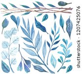 Blue Watercolor Branches With...