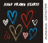 hand drawn  hearts isolated on... | Shutterstock .eps vector #1207427599