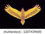 hand drawn falcon with glitch...   Shutterstock .eps vector #1207429600