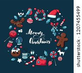 doodle christmas hand drawn... | Shutterstock .eps vector #1207455499