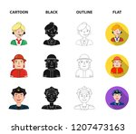 an astronaut in a spacesuit  a... | Shutterstock . vector #1207473163
