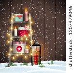 christmas theme  wooden ladder... | Shutterstock .eps vector #1207479046