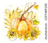 pumpkin with sunflowers. hand... | Shutterstock . vector #1207489150