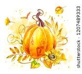pumpkin. hand drawn watercolor...   Shutterstock . vector #1207489333