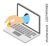laptop with acceptance showing ... | Shutterstock .eps vector #1207495483