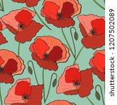seamless pattern poppy flower ... | Shutterstock .eps vector #1207502089