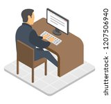 an employee sitting in front... | Shutterstock .eps vector #1207506940