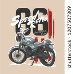 slogan with vintage motorcycle... | Shutterstock .eps vector #1207507309
