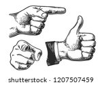 set of different gestures hand  ... | Shutterstock .eps vector #1207507459