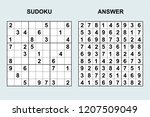 vector sudoku with answer 210.... | Shutterstock .eps vector #1207509049