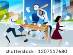 angry and furious boss goes mad ... | Shutterstock .eps vector #1207517680