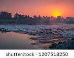 sunrise over river sava in... | Shutterstock . vector #1207518250
