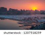 sunrise over river sava in... | Shutterstock . vector #1207518259