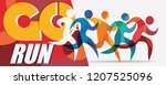 running people set of stylized... | Shutterstock .eps vector #1207525096