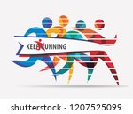 running people set of stylized... | Shutterstock .eps vector #1207525099