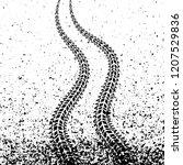 raster black tire tracks with... | Shutterstock . vector #1207529836