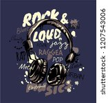 music slogan with headphone... | Shutterstock .eps vector #1207543006
