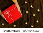 top view of female hands... | Shutterstock . vector #1207546669