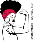 afro strong woman | Shutterstock .eps vector #1207562410