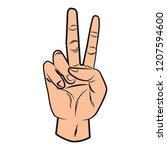 hand peace sign pop art | Shutterstock .eps vector #1207594600