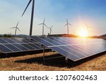 solar panel with wind turbine... | Shutterstock . vector #1207602463