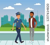city police officer on duty... | Shutterstock .eps vector #1207614820
