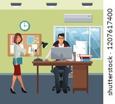 business characters in office... | Shutterstock .eps vector #1207617400