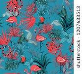 trendy retro summer tropical ... | Shutterstock .eps vector #1207633513