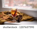 cup of hot autumntea with apple ... | Shutterstock . vector #1207637590