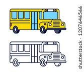 yellow school bus line icon ... | Shutterstock . vector #1207646566