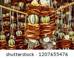 hanging decoration of dried... | Shutterstock . vector #1207655476