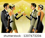2 couples at a party in the...   Shutterstock .eps vector #1207673206