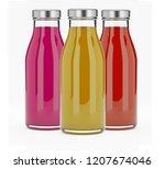 3 bottles with juice  ...   Shutterstock . vector #1207674046
