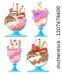 set of ice cream dessert in a... | Shutterstock .eps vector #1207678600