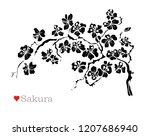 decorative sakura flowers ... | Shutterstock . vector #1207686940
