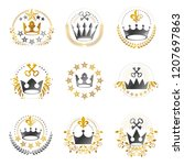 ancient crowns emblems set.... | Shutterstock .eps vector #1207697863