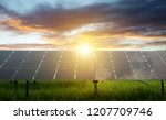 solar panels with sun   Shutterstock . vector #1207709746