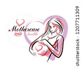 pregnant female beautiful body... | Shutterstock .eps vector #1207711309