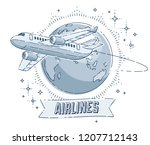 plane airliner with earth... | Shutterstock .eps vector #1207712143