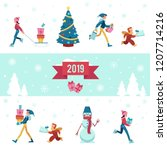2019 winter vector illustration ... | Shutterstock .eps vector #1207714216