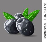 olives black with leaves and... | Shutterstock .eps vector #1207718170