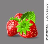 strawberries with a stem leaves ... | Shutterstock .eps vector #1207718179