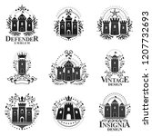 ancient castles emblems set.... | Shutterstock .eps vector #1207732693
