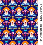 seamless pattern with clowns... | Shutterstock .eps vector #1207734976